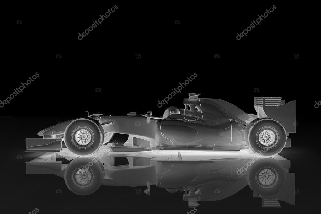 Illustration of a shiny racing car on a black background  Foto de Stock   #3915109