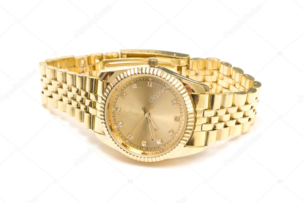 Men Gold Watch On Wrist