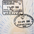 Stock Photo: Mauritius immigration arrival stamp