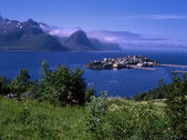 View of ocean fjord with small island — Stock Photo