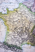 Handmade ancient map of France — Stock Photo
