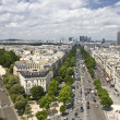 Aerial view of Paris from triumphal arch - Stock Photo
