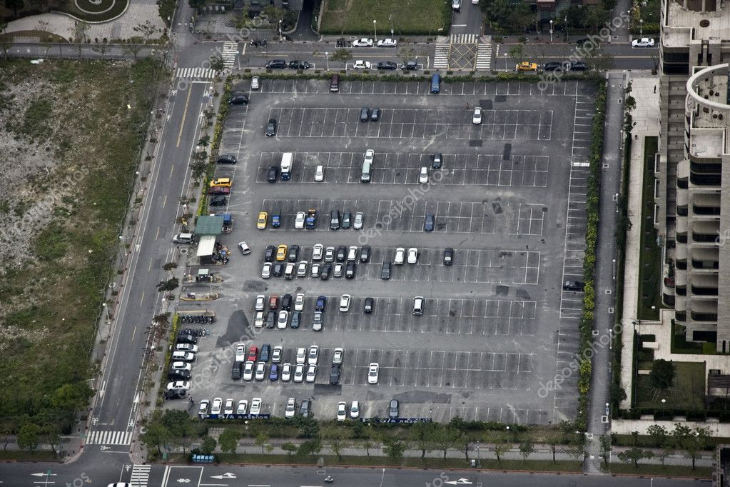 Aerial view parking lot from the top of Taibei 101 Tower — Stock Photo #3443249