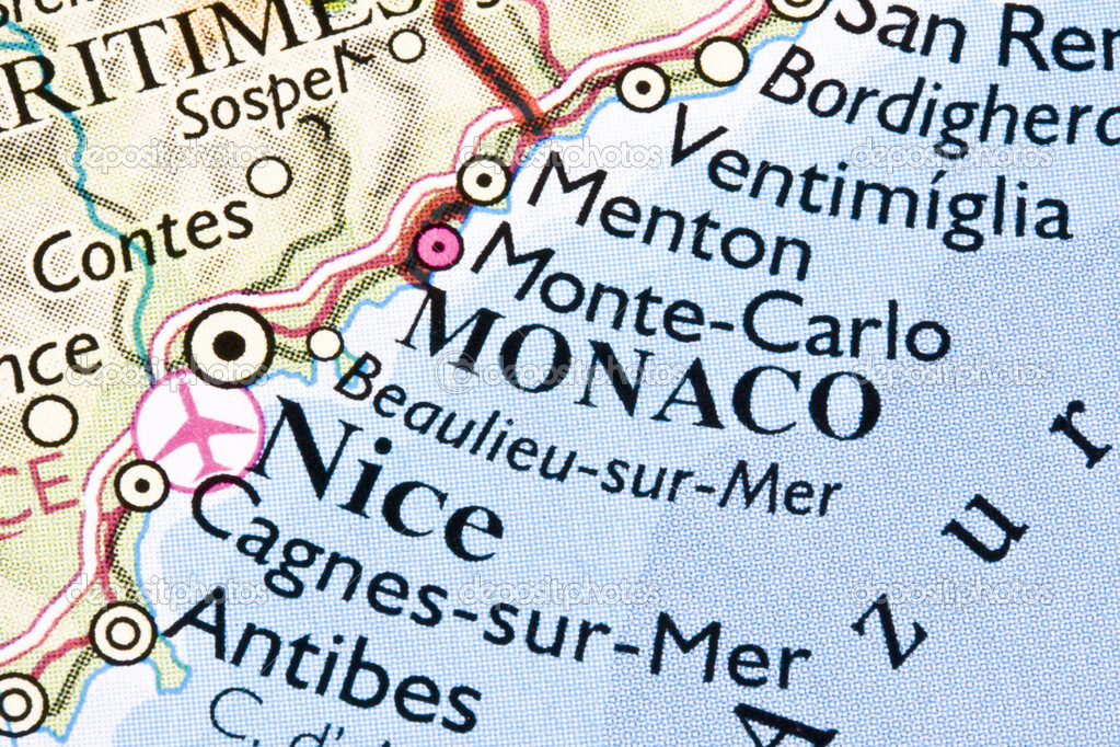 Monaco is on a map  Stock Photo #3487660