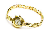 Woman gold wrist watch — Stock Photo
