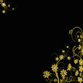 Golden floral background on black — Stock Photo
