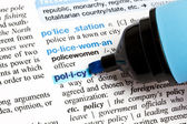 "Policy"" highlighted in a dictionary — Stock Photo"