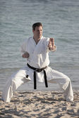 Man in a karate pose — Stock Photo