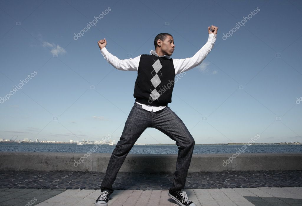 Young teenager performing dance moves — Stock Photo #3063342