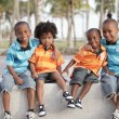 Four African american brothers — Stock Photo