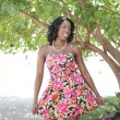 Young black model in a summer dress — Stock Photo