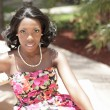 Attractive black woman in a summer dress — Stock Photo
