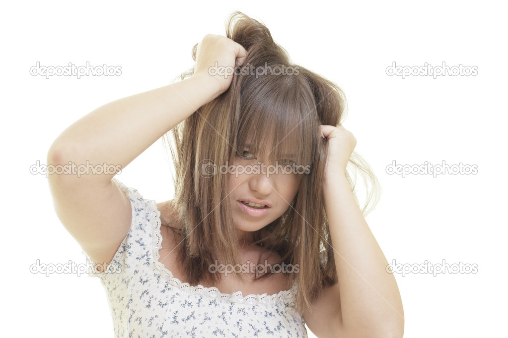 Woman playing with her hair