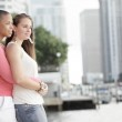 Two young Gay women outdoors — Stock Photo