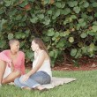 Female couple in park — Stock Photo #3522949