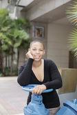 Black woman smiling — Stock Photo