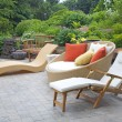 Modern Wicker Garden Furniture - Stock Photo