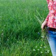 Woman on green meadow — Stock Photo
