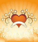 Гранж-фон с сердцем — Cтоковый вектор