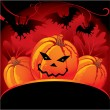 Halloween card with pumpkin - Stok Vektr