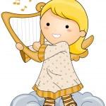 Angel Playing Harp — Stock Vector