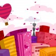 Stock Vector: Valentine City