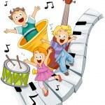 enfants avec des instruments de musique avec un tracé de détourage — Vecteur #2755112