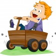 Boy on Wooden Kart - Stock Vector