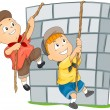 Children Climbing Wall — Stock Vector