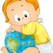 Baby Hugging Globe — Stock Vector
