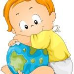 Baby Hugging Globe — Stock Vector