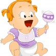 Baby with Rattle — Stock Vector