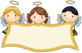 Angels holding Banner — Stock Vector