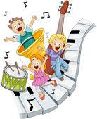 размещение детей с музыкальными инструментами с обтравочного контура — Cтоковый вектор