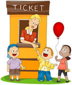 Children at the Ticket Booth — Stock Vector