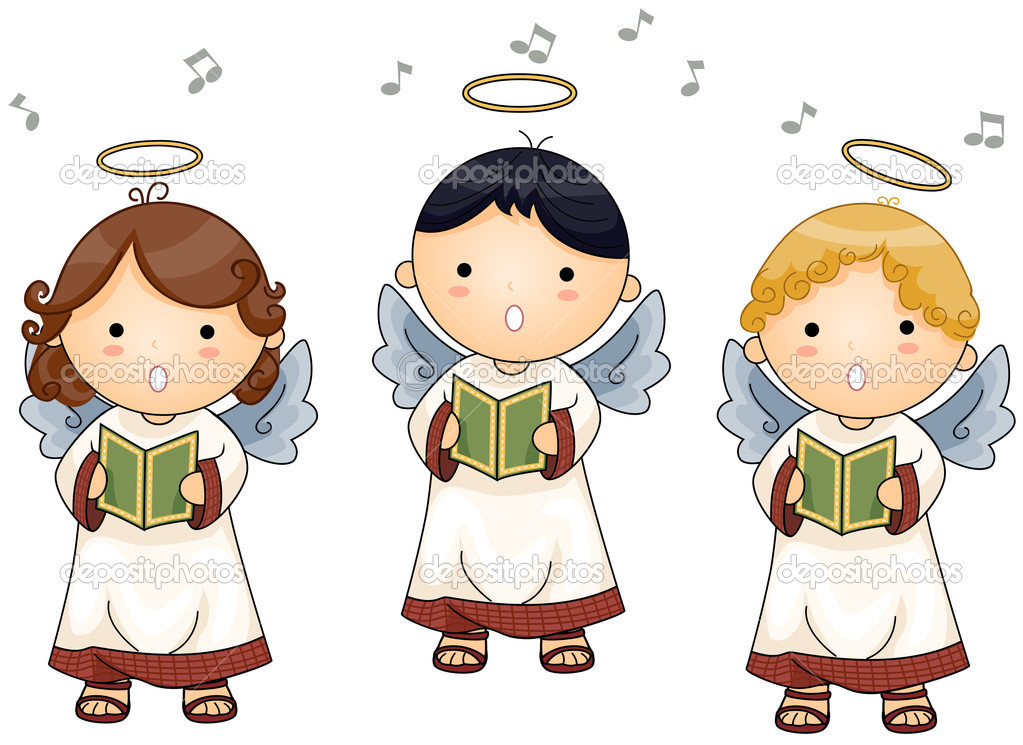 Angels singing with Clipping Path — Stock Vector #2755082