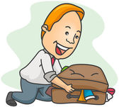Man Overpacking — Stock Vector