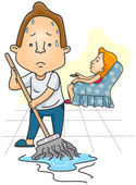 Man mopping Floor — Stock Vector