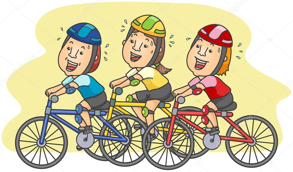 Cyclists with clipping path — Stock Vector #3919942