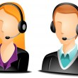 Call Center Agent Avatars — Vector de stock #3920084