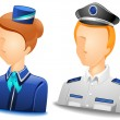 Pilot / Stewardess Avatars — Stock Vector