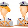 Ship Captain Avatars — Stock Vector