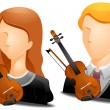 Violinist Avatars — Stock Vector