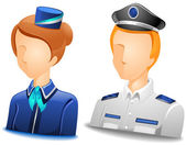 Pilot / Stewardess Avatars — Stok Vektör