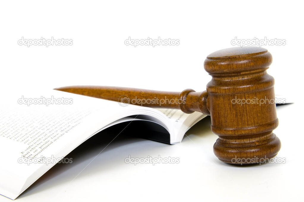 Wooden gavel from the court and law book  Foto Stock #2864238