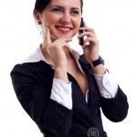 mówiąc na telefon — Zdjęcie stockowe
