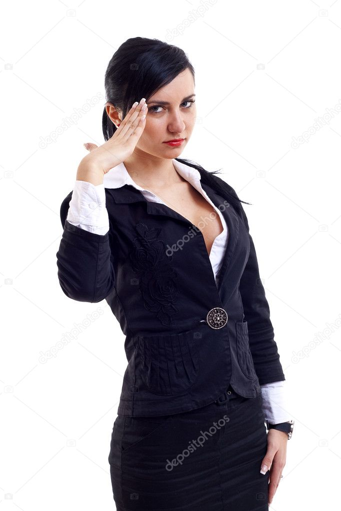 Attractive business woman saluting over white background  Stock Photo #2992738