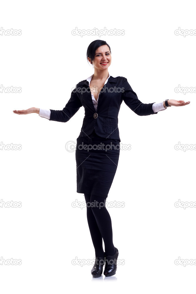 Friendly smiling businesswoman. Isolated over white background — Stock Photo #2993011