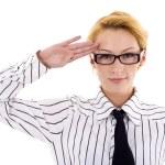 Woman saluting — Stock Photo