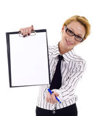 Showing blank clipboard — Stock Photo